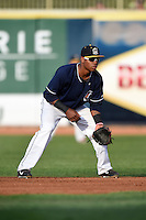 Lake County Captains second baseman Claudio Bautista (10) during a game against the Dayton Dragons on June 7, 2014 at Classic Park in Eastlake, Ohio.  Lake County defeated Dayton 4-3.  (Mike Janes/Four Seam Images)
