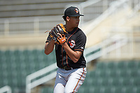 Delmarva Shorebirds starting pitcher Ofelky Peralta (39) in action against the Kannapolis Intimidators at Kannapolis Intimidators Stadium on May 19, 2019 in Kannapolis, North Carolina. The Shorebirds defeated the Intimidators 9-3. (Brian Westerholt/Four Seam Images)