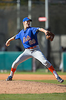 Clay Helvey (28) of Fort Mill High School in Fort Mill, South Carolina playing for the New York Mets scout team at the South Atlantic Border Battle at Doak Field on November 2, 2014.  (Brian Westerholt/Four Seam Images)