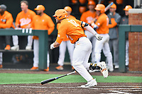 Tennessee Volunteers designated hitter Pete Derkay (10) runs to first base during a game against the Appalachian State Mountaineers at Lindsey Nelson Stadium on February 16, 2019 in Knoxville, Tennessee. The Volunteers defeated Mountaineers 2-0. (Tony Farlow/Four Seam Images)