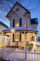 House with Christmas lights, Somerville, MA