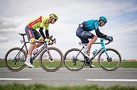 Yevgeniy Fedorov (KAZ/Astana - Premier Tech) & Laurenz Rex (BEL/Bingoal Pauwels Sauces WB) in the early brake<br /> <br /> 83rd Gent-Wevelgem - in Flanders Fields (ME - 1.UWT)<br /> 1 day race from Ieper to Wevelgem (BEL): 254km<br /> <br /> ©kramon
