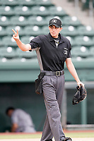 Umpire Willie Trainor works a game betwee the Asheville Tourists and the Greenville Drive on Tuesday, August 31, 2021, at Fluor Field at the West End in Greenville, South Carolina. (Tom Priddy/Four Seam Images)
