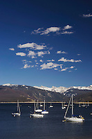 Sailing Boats on Grand Lake with Rocky Mountains in background, Grand Lake, Colorado, USA, September 2006