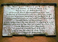 A tablet set in the walls of Clytha Castle in dedication to his wife, Elizabeth.