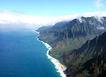 Aerial view of the Na Pali Coast on the island of Kauai in Hawaii.