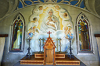 The Italian Chapel constructed of 2 nissen huts in 1942 at Italian prisoner of war Camp 60 next to Sapa Flow. The Italian inmates under the direction of their priests Father Giacobazzi and Domenico Chiocchetti decorated the interior with Trompe-l'œil stonework and murals to resemble the interior of a Roman Catholic painted church. Lamb Holm, Orkney, Scotland