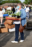 HOW DOES YOUR GARDEN GROW?<br />Faye Davis shops on Saturday May 1 2021 at the Garden Club of Rogers 45th annual  plant sale. Club members sold an array of flowers, vegetable plants, herbs, trees and shrubs in the parking lot at First Presbyterian Church in Rogers. The club maintains a variety of public gardens around Rogers, including the butterfly garden at Railyard Park downtown. Profits fund garden maintenance and other club service projects, said Marge Leanord, club president. The Garden Club of Rogers has 70 men and women members and recently marked its 90th anniversary. Members meet monthly, except January, July and August, to hear programs, share gardening tips and take garden tours. Go to nwaonline.com/210502Daily/ to see more photos.<br />(NWA Democrat-Gazette/Flip Putthoff)