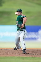 Greensboro Grasshoppers relief pitcher Reilly Hovis (41) in action against the Kannapolis Intimidators at Kannapolis Intimidators Stadium on August 13, 2017 in Kannapolis, North Carolina.  The Grasshoppers defeated the Intimidators 4-1 in 10 innings in the completion of a game suspended on August 12, 2017.  (Brian Westerholt/Four Seam Images)