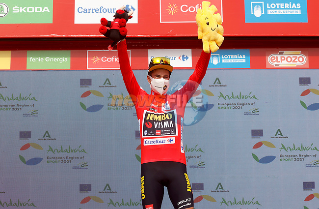 Primoz Roglic (SLO) Jumbo-Visma retains the race leaders Red Jersey at the end of Stage 9 of La Vuelta d'Espana 2021, running 188km from Puerto Lumbreras to Alto de Velefique, Spain. 22nd August 2021.     <br /> Picture: Luis Angel Gomez/Photogomezsport | Cyclefile<br /> <br /> All photos usage must carry mandatory copyright credit (© Cyclefile | Luis Angel Gomez/Photogomezsport)