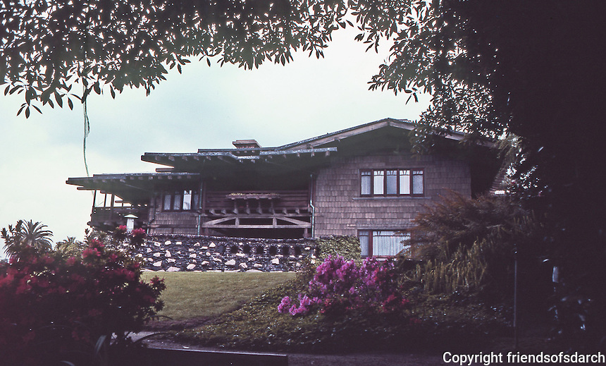 Greene & Greene:  Gamble House, Pasadena CA, 1908. Rear view. NRHP 1973. Arts and Crafts masterpiece. Craftsman style focused on natural materials. Custom-designed furniture and Japanese influence. (Photo July 1983.)