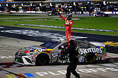 #18: Kyle Busch, Joe Gibbs Racing, Toyota Camry Skittles Zombie, celebrates after winning