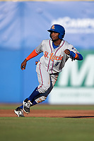 St. Lucie Mets right fielder John Mora (4) running the bases during a game against the Dunedin Blue Jays on April 20, 2017 at Florida Auto Exchange Stadium in Dunedin, Florida.  Dunedin defeated St. Lucie 6-4.  (Mike Janes/Four Seam Images)