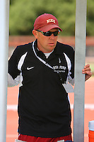 4 May 2008: Stanford Cardinal assistant coach Kris Mack during Stanford's Payton Jordan Cardinal Invitational at Cobb Track & Angell Field in Stanford, CA.