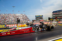 Sep 6, 2020; Clermont, Indiana, United States; NHRA top fuel driver Leah Pruett (near) alongside Tony Schumacher during the US Nationals at Lucas Oil Raceway. Mandatory Credit: Mark J. Rebilas-USA TODAY Sports