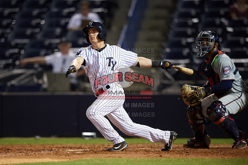 Tampa Yankees second baseman Nick Solak (39) at bat in front of catcher Brian Navarreto during a game against the Fort Myers Miracle on April 12, 2017 at George M. Steinbrenner Field in Tampa, Florida.  Tampa defeated Fort Myers 3-2.  (Mike Janes/Four Seam Images)