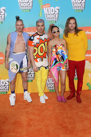 INGLEWOOD, CA - MARCH 12: DNCE at Nickelodeon's 2016 Kids' Choice Awards at The Forum on March 12, 2016 in Inglewood, California. Credit: mpi24/MediaPunch