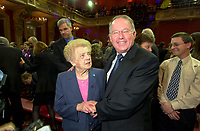 FILE PHOTO March 8 2001 Quebec, Canada<br /> <br /> New Premier of Quebec Bernard Landry (R) and his mother right after  the  presentation of his new cabinet, March 8 2001, at the National Assembly, in Quebec City.<br /> <br /> <br /> <br /> <br /> Mandatory Credit: Photo by Pierre Roussel- Images Distribution. (©) Copyright 2001 by Pierre Roussel <br /> <br /> NOTE : <br />  Nikon D-1 jpeg opened with Qimage icc profile, saved in Adobe 1998 RGB<br /> .Uncompressed  Original  size  file availble on request.