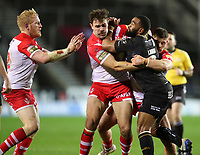 20th November 2020; Totally Wicked Stadium, Saint Helens, Merseyside, England; BetFred Super League Playoff Rugby, Saint Helens Saints v Catalan Dragons; Alex Walmsley of St Helens is tackled by Samisoni Langi of Catalan Dragons