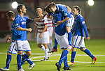 Hamilton Accies v St Johnstone...24.09.13      League Cup<br /> Gwion Edwards celebrates his goal with Frazer Wright<br /> Picture by Graeme Hart.<br /> Copyright Perthshire Picture Agency<br /> Tel: 01738 623350  Mobile: 07990 594431