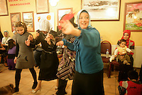 Dancing by Kurdish women at a women-only wedding celebration or kina gecesi in Istanbul, Turkey