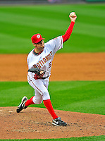 13 April 2009: Washington Nationals' pitcher Michael Hinckley on the mound in relief against the Philadelphia Phillies during the Nats' Home Opener at Nationals Park in Washington, DC. The Nats fell short in their 9th inning rally, losing 9-8, and marking their 7th consecutive loss of the 2009 season. Mandatory Credit: Ed Wolfstein Photo
