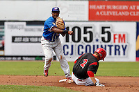 Auburn Doubledays second baseman Carlos Alvarez #4 during a game against the Batavia Muckdogs at Dwyer Stadium on September 4, 2011 in Batavia, New York.  Batavia defeated Auburn 4-2.  (Mike Janes/Four Seam Images)