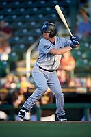 Tampa Tarpons designated hitter Adam Lind (23) at bat during a game against the Bradenton Marauders on April 25, 2018 at LECOM Park in Bradenton, Florida.  Tampa defeated Bradenton 7-3.  (Mike Janes/Four Seam Images)