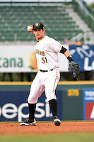 Bradenton Marauders shortstop Max Moroff (31) throws to first during a game against the Palm Beach Cardinals on April 8, 2014 at McKechnie Field in Bradenton, Florida.  Bradenton defeated Palm Beach 4-3.  (Mike Janes/Four Seam Images)