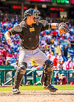 25 July 2013: Pittsburgh Pirates catcher Russell Martin in action against the Washington Nationals at Nationals Park in Washington, DC. The Nationals salvaged the last game of their series, winning 9-7 ending their 6-game losing streak. Mandatory Credit: Ed Wolfstein Photo *** RAW (NEF) Image File Available ***
