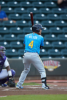 D.J. Wilson (4) of the Myrtle Beach Pelicans at bat against the Winston-Salem Dash at BB&T Ballpark on August 6, 2018 in Winston-Salem, North Carolina. The Dash defeated the Pelicans 6-3. (Brian Westerholt/Four Seam Images)