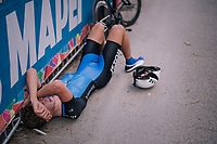 downed by fatigue after finishing <br /> <br /> MEN UNDER 23 INDIVIDUAL TIME TRIAL<br /> Hall-Wattens to Innsbruck: 27.8 km<br /> <br /> UCI 2018 Road World Championships<br /> Innsbruck - Tirol / Austria