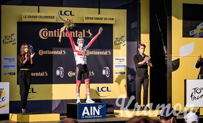 stage winner Tadej Pogačar (SVK/UAE-Emirates) on the podium<br /> <br /> Stage 15 Lyon to Grand Colombier (175km)<br /> <br /> 107th Tour de France 2020 (2.UWT)<br /> (the 'postponed edition' held in september)<br /> <br /> ©kramon