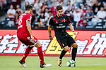 AC Milan Forward Gianluca Lapadula (R) plays against Bayern Munich Midfielder Javi Martinez (L) during the 2017 International Champions Cup China  match between FC Bayern and AC Milan at Universiade Sports Centre Stadium on July 22, 2017 in Shenzhen, China. Photo by Marcio Rodrigo Machado / Power Sport Images