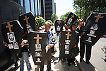 Mexican journalists stage a protest carrying coffins of dead journalists in front of the Attorney General's office demanding to end the impunity against the journalist and to solve the assassinations of journalists in Mexico, May 29, 2008. Mexico is one of the most dangerous countries where ten media workers where killed in the last year. Photo by Heriberto Rodriguez