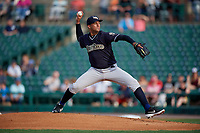 Scranton/Wilkes-Barre RailRiders pitcher Randall Delgado (38) during an International League game against the Rochester Red Wings on June 24, 2019 at Frontier Field in Rochester, New York.  Rochester defeated Scranton 8-6.  (Mike Janes/Four Seam Images)