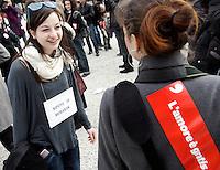"""""""Se non ora quando?"""": manifestazione contro il presidente del consiglio, per il rispetto della dignita' e dei diritti delle donne, a Roma, 13 febbraio 2011..Women attend the """"If not now, when?"""" rally against the Italian premier, to ask for respect of their dignity and rights, in Rome, 13 february 2011..The signs read """"Mubarak's niece"""" (left) and """"Love is for free""""..UPDATE IMAGES PRESS/Riccardo De Luca"""