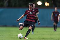 STANFORD, CA - August 19, 2014: Austin Meyer during the Stanford vs CSU Bakersfield men's exhibition soccer match in Stanford, California.  Stanford won 1-0.