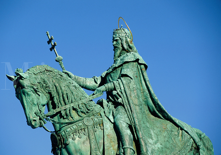 Statue of ST STEPHEN (977-1038 AD), HUNGARY'S first king, stands near MATTHIAS CHURCH - BUDAPEST