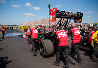 Sep 2, 2019; Clermont, IN, USA; NHRA top fuel driver Doug Kalitta with crew during the US Nationals at Lucas Oil Raceway. Mandatory Credit: Mark J. Rebilas-USA TODAY Sports