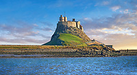 Lindisfarne Castle & Lobster Pots, fishing boat - 16th Century castle, Holy Island, Lindisfarne, Northumberland, England