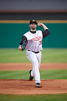 Seattle Mariners pitcher James Paxton (38) delivers a warmup pitch while on rehab assignment with the Arkansas Travelers during a game against the Frisco RoughRiders on May 26, 2017 at Dickey-Stephens Park in Little Rock, Arkansas.  Arkansas defeated Frisco 4-2.  (Mike Janes/Four Seam Images)
