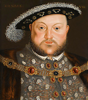 Portrait of King Henry VIII of England by Holbein, Hans, (Circle of)   / Private Collection /Germany / Oil on canvas / Portrait / 58x44,5 / Renaissance