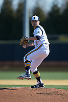 Quinnipiac Bobcats starting pitcher Taylor Luciani (18) in action against the Radford Highlanders at David F. Couch Ballpark on March 4, 2017 in Winston-Salem, North Carolina. The Highlanders defeated the Bobcats 4-0. (Brian Westerholt/Four Seam Images)