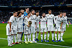 Luka Modric of Real Madrid holidng his Ballon d'Or Trophy  poses for a photo with teammates prior to the La Liga 2018-19 match between Real Madrid and Rayo Vallencano at Estadio Santiago Bernabeu on December 15 2018 in Madrid, Spain. Photo by Diego Souto / Power Sport Images