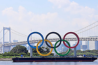 19th July 2021, TOKYO, JAPAN:   the Olympic Rings pictured prior to the Tokyo 2020 Summer Olympic Games Tokyo, Japan