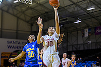 SANTA CRUZ, CA - JANUARY 22: Haley Jones #30 goes up for a shot during the Stanford Cardinal women's basketball game vs the UCLA Bruins at Kaiser Arena on January 22, 2021 in Santa Cruz, California.