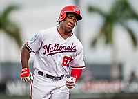 27 February 2019: Washington Nationals outfielder Chuck Taylor in action against the Houston Astros at the Ballpark of the Palm Beaches in West Palm Beach, Florida. The Nationals defeated the Astros 14-8 in their Spring Training Grapefruit League matchup. Mandatory Credit: Ed Wolfstein Photo *** RAW (NEF) Image File Available ***