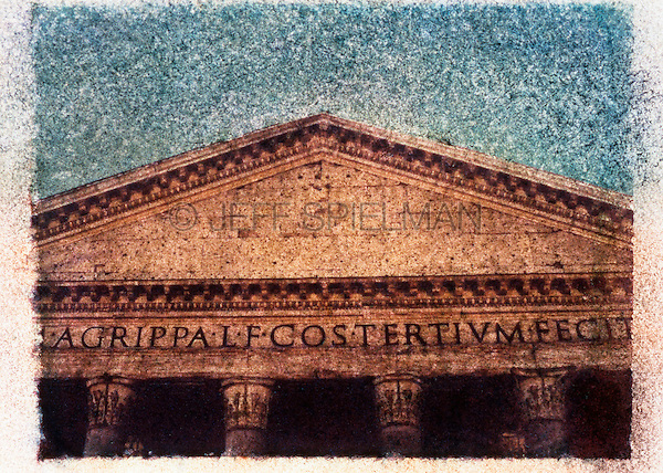 Facade of the Pantheon, Rome, Italy<br /> Polaroid Transfer - Hand Colored with Pastels