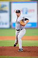 Jackson Generals starting pitcher Taylor Widener (17) delivers a pitch during a game against the Chattanooga Lookouts on May 9, 2018 at AT&T Field in Chattanooga, Tennessee.  Chattanooga defeated Jackson 4-2.  (Mike Janes/Four Seam Images)